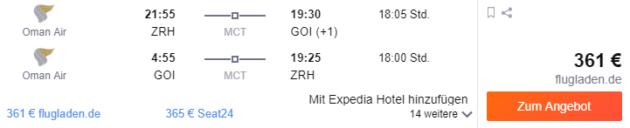 Flug Zürich Goa
