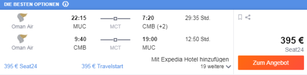 Flug München Sri Lanka