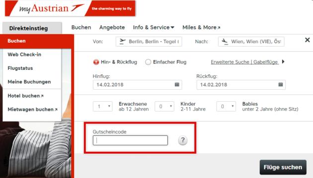 Austrian Airlines Gutscheincode