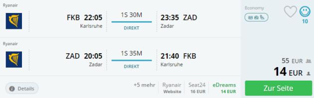 Flug nach Zadar