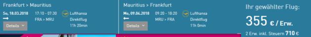 Flug Frankfurt Mauritius