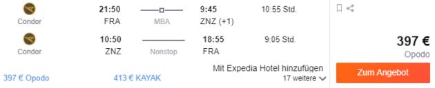 Flug Frankfurt Sansibar