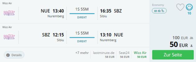 Flug Nürnberg Sibiu