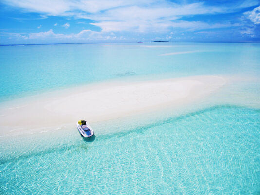Malediven Luftbild Jetski