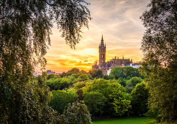 Schottland Glasgow Sonnenuntergang