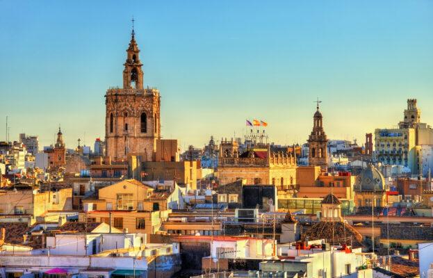 Spanien Valencia Altstadt Luftbild