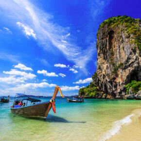 Thailand Krabi Railay Beach Boot Meer