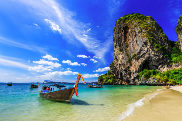 Thailand Krabi Railay Beach Boot Meer
