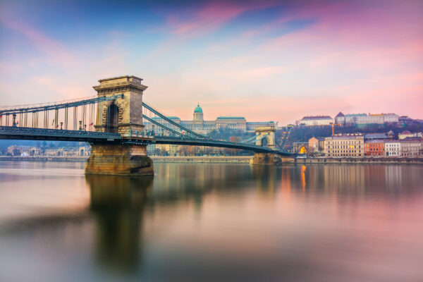 Ungarn Budapest Brücke Abends