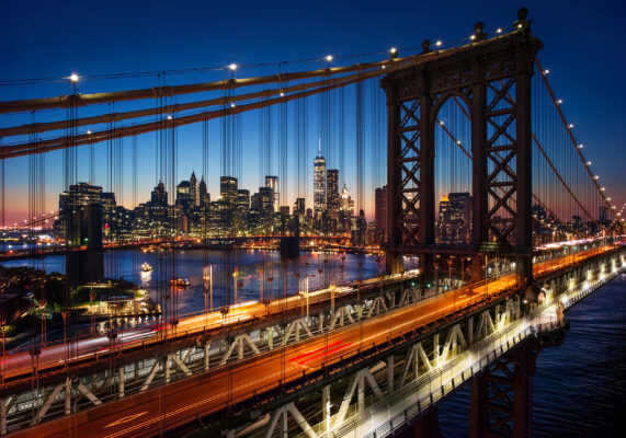 USA New York Bridge Nacht