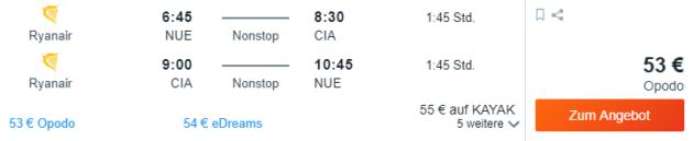 Flug Nürnberg Rom