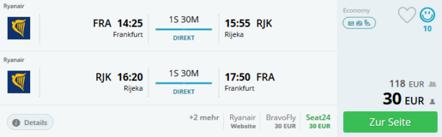 Flug Frankfurt Rijeka
