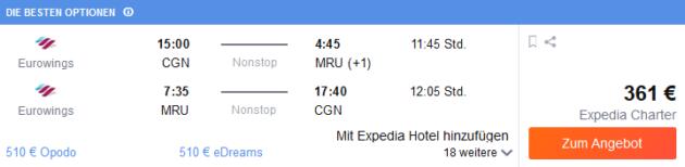 Flug Köln Mauritius