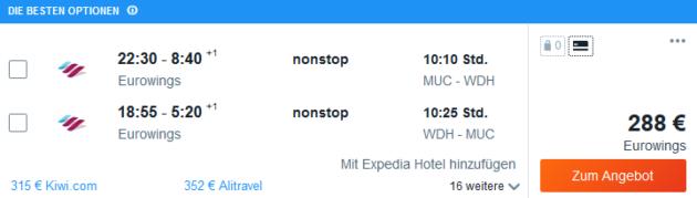 Flug München Windhuk