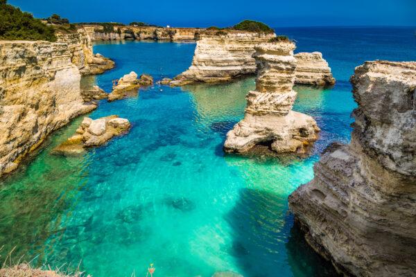 Italien Apulien Felsen Meer