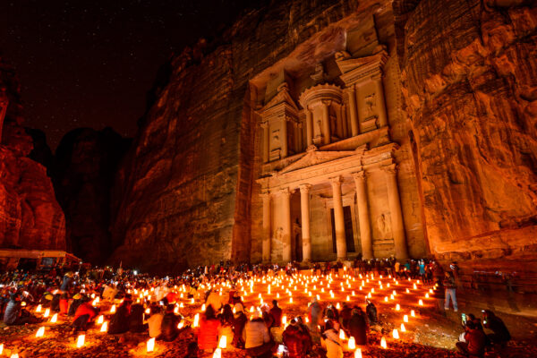 Jordanien Al Khazneh Petra Nachts