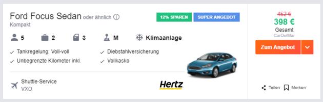 Schweden Mietwagen