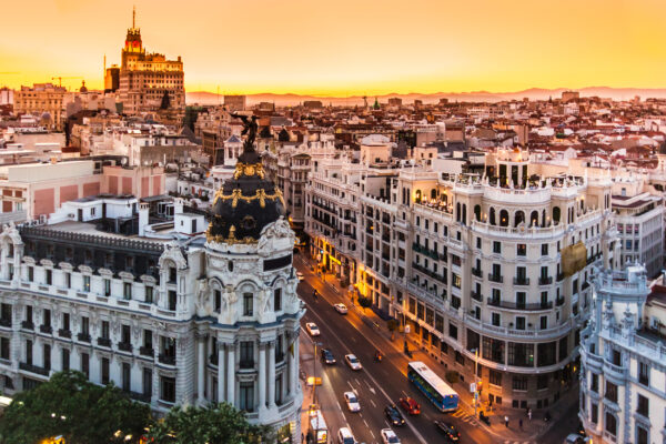 Spanien Madrid Panoramablick Gran Via