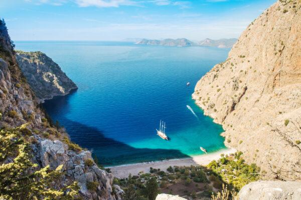 Türkei Oludeniz Bucht Schiff