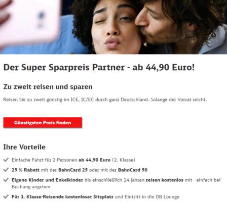 DB Sparpreis Partner Aktion