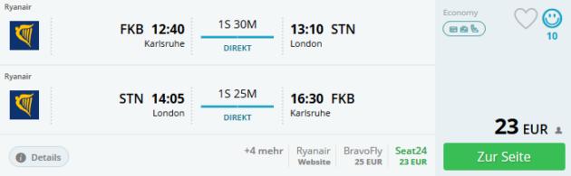 Flug Karlsruhe London