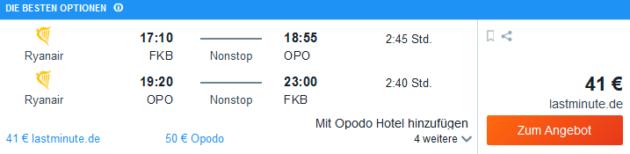 Flug Karlsruhe Porto