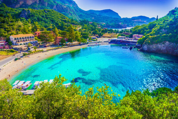 Griechenland Korfu Paleokastritsa Strand