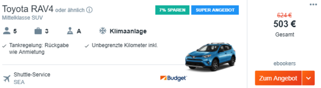 Mietwagen Seattle Angebot