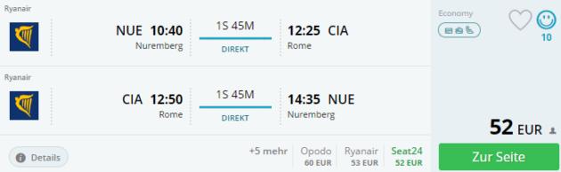 Nürnberg nach Rom