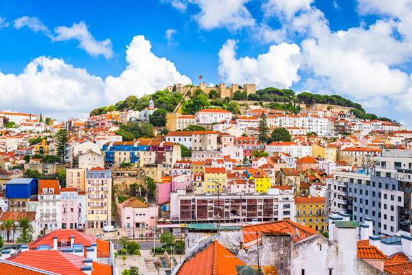 Portugal LissabonSao Jorge Castle Skyline