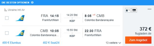Flug nach Sri Lanka