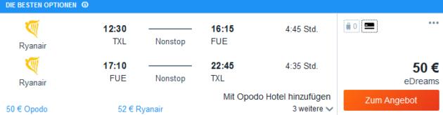 Flug Berlin Fuerteventura