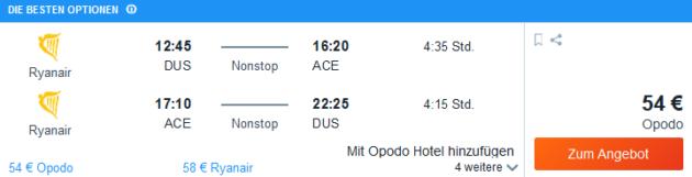 Flug Düsseldorf Arrecife