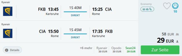 Flug Karlsruhe Rom