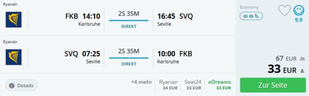 Flug Karlsruhe Sevilla
