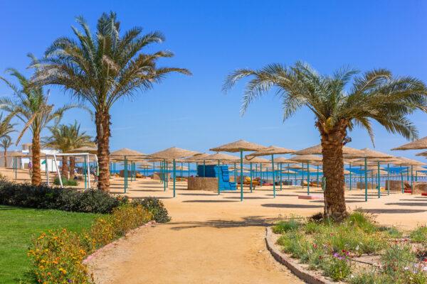 Ägypten Hurghada Parasols am Strand