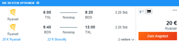 Flug nach Brindisi