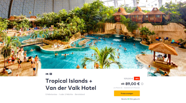 2 Tage Tropical Islands