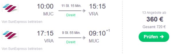 Flug München Varadero
