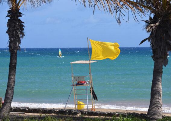 Gelbe Flagge Strand