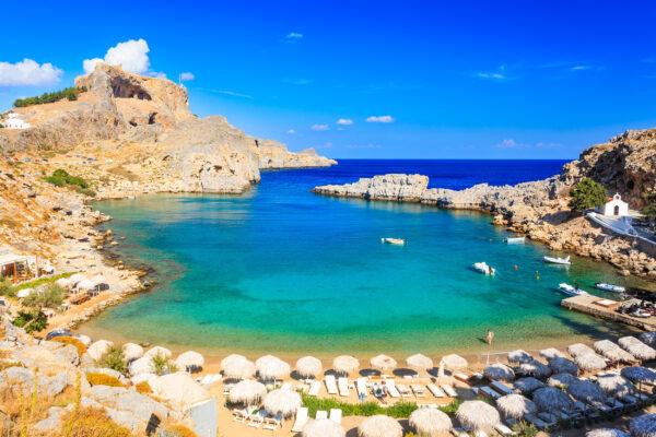 Griechenland Rhodos Strand Bucht