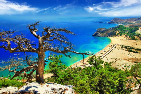 Griechenland Rhodos Strand oben