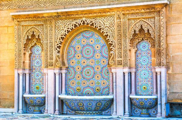 Marokko Marrakesch Mosaik Brunnen