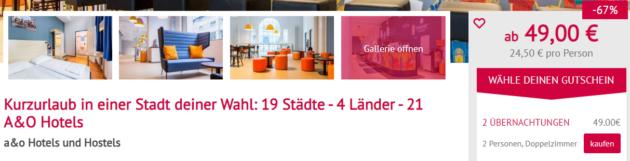 A&O Hotel Gutschein