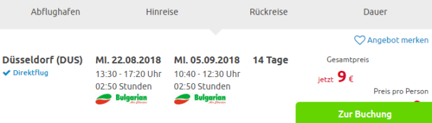 Düsseldorf nach Bulgarien