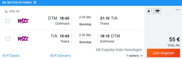 Flug Dortmund Tirana