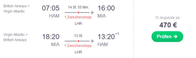 Flug Hamburg Miami