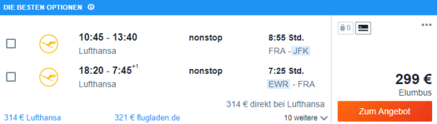 Frankfurt nach New York