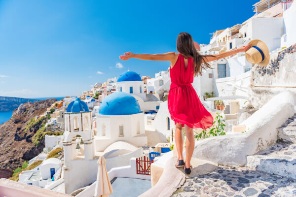 Griechenland Santorini Oia Frau