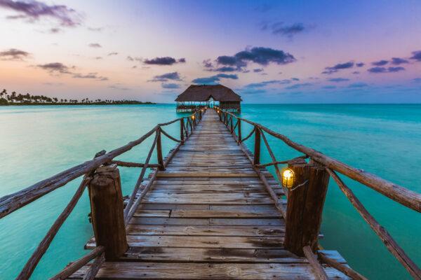 Sansibar Steg Sonnenuntergang